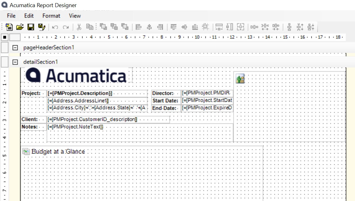 A screenshot of the Acumatica Report Designer