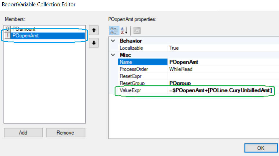 A screenshot of the ReportVariable Collection Editor inside of Acumatica