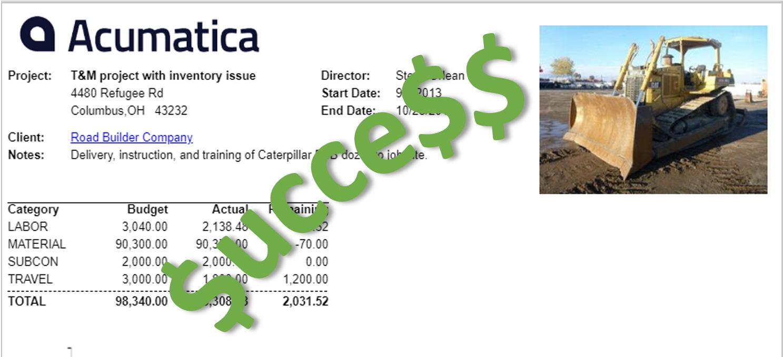 A screenshot of a successful project summary report inside of Acumatica