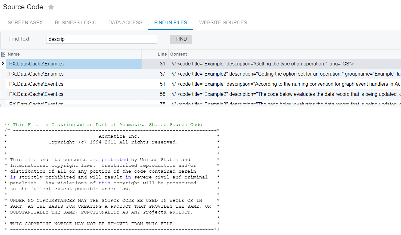 An example of Acumatica allowing people to use their source code.