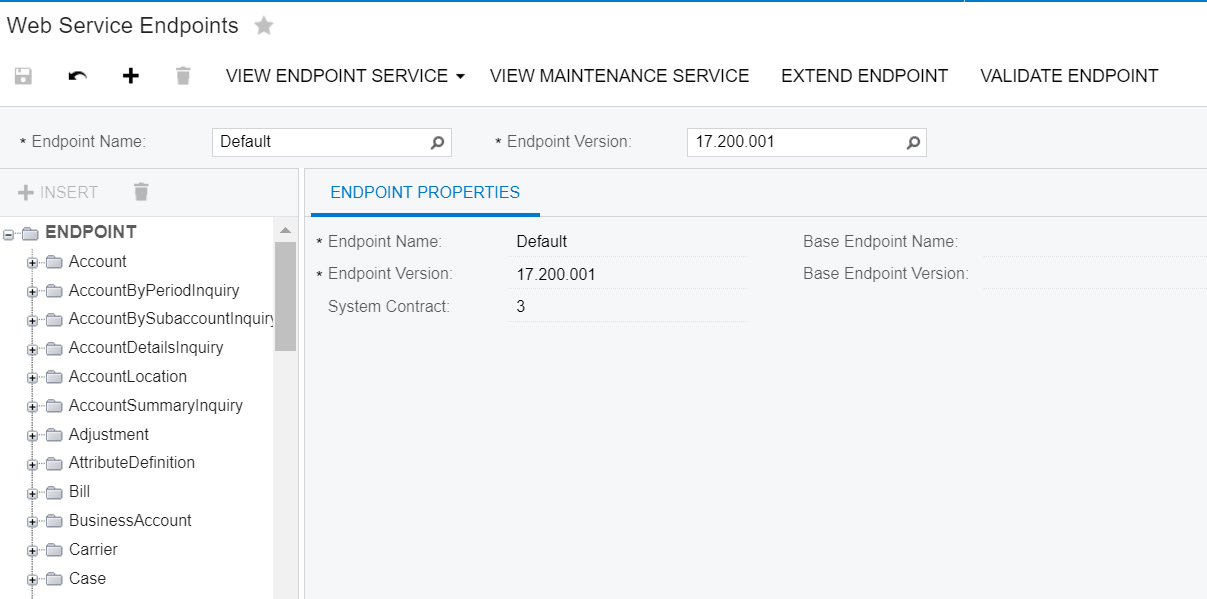 A screenshot of Acumatica's Web Service Endpoints screen.
