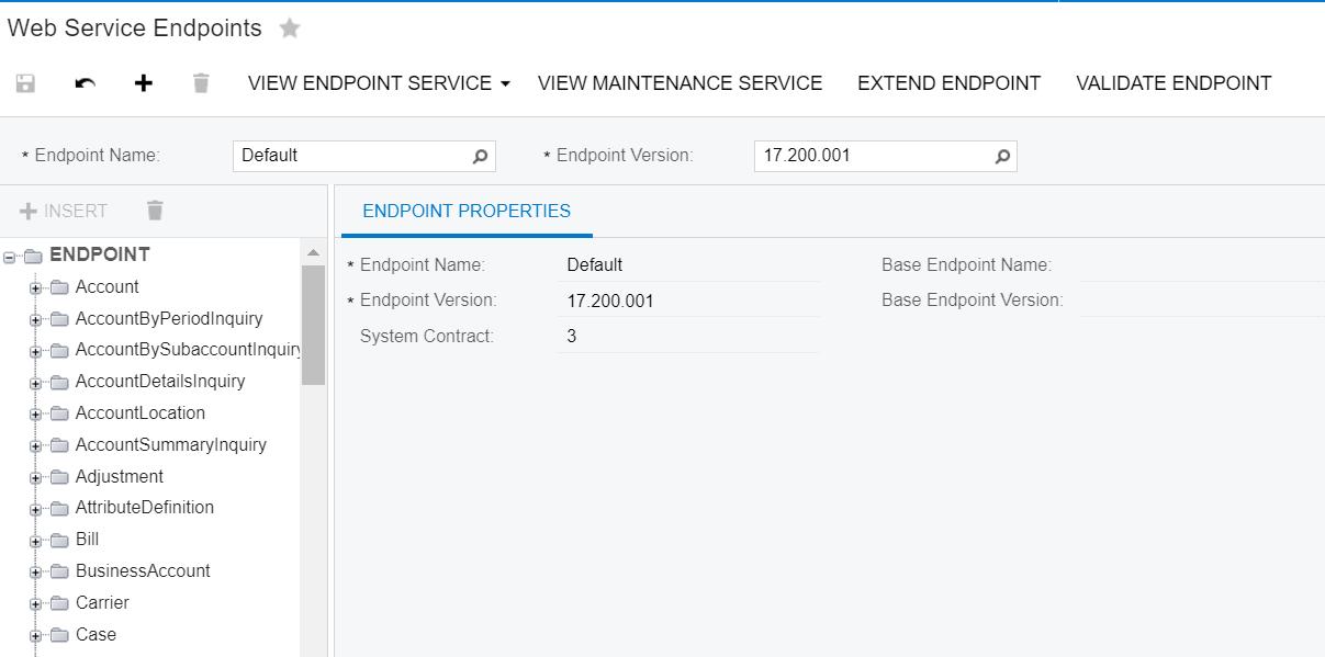 A screenshot of Acumatica's Web Service Endpoints screen.