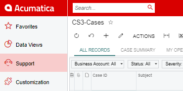 Looking at a red custom interface in Acumatica.