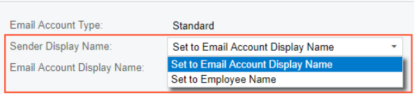 Set to Email Account Display Name