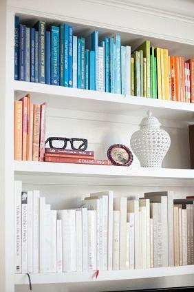 color-organized book shelves