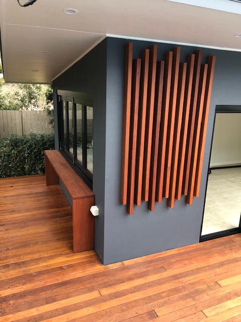 An outdoor deck renovation