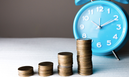 A clock and stacks of coins show how fitness habits work like compound interest over time