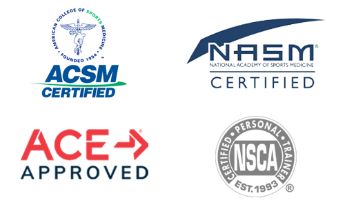 Reputable national certifying personal trainer agencies accepted by Trainiac: ACE, ACSM, NASM, NSCA