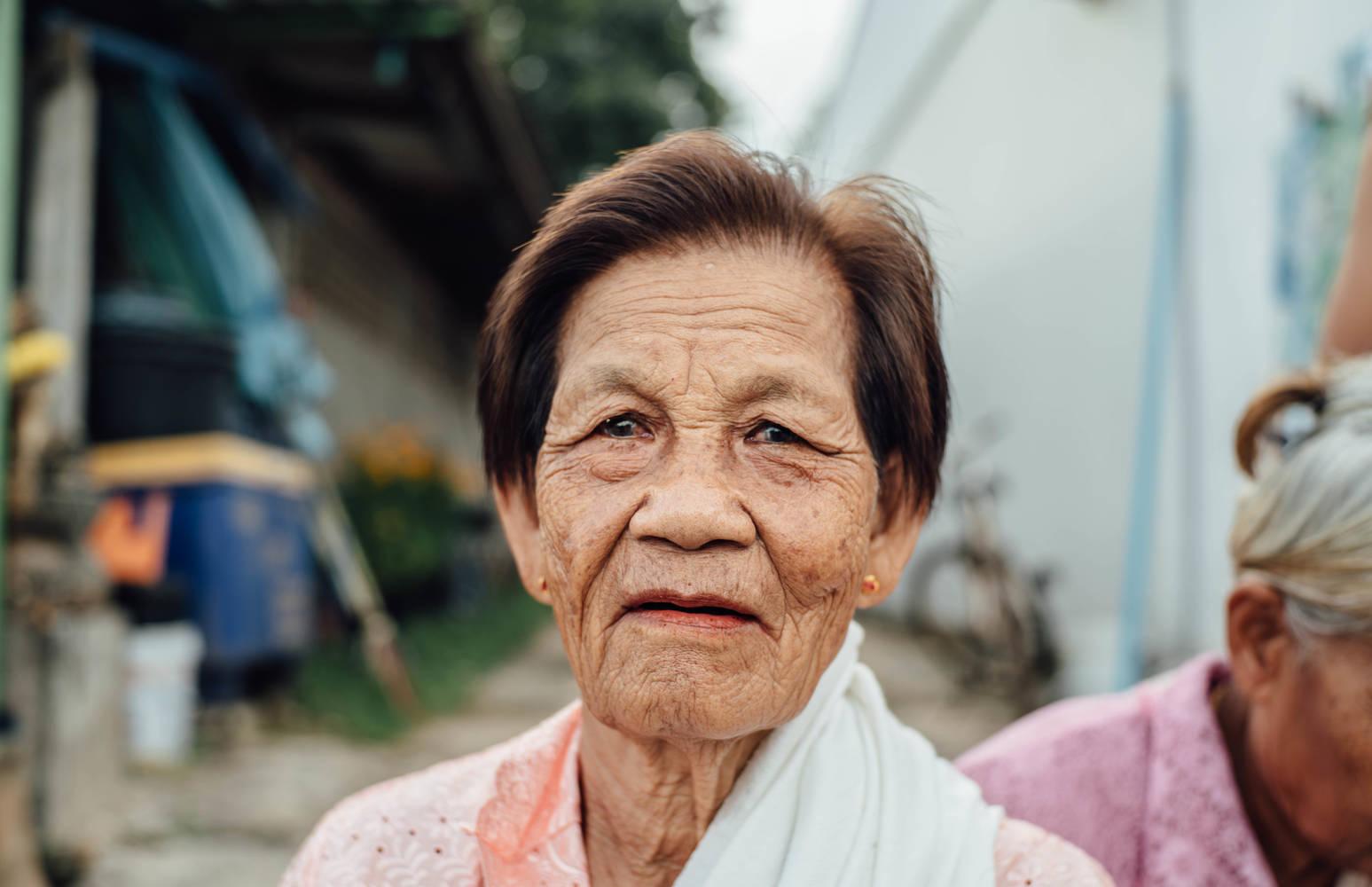 Elderly woman up close portrait