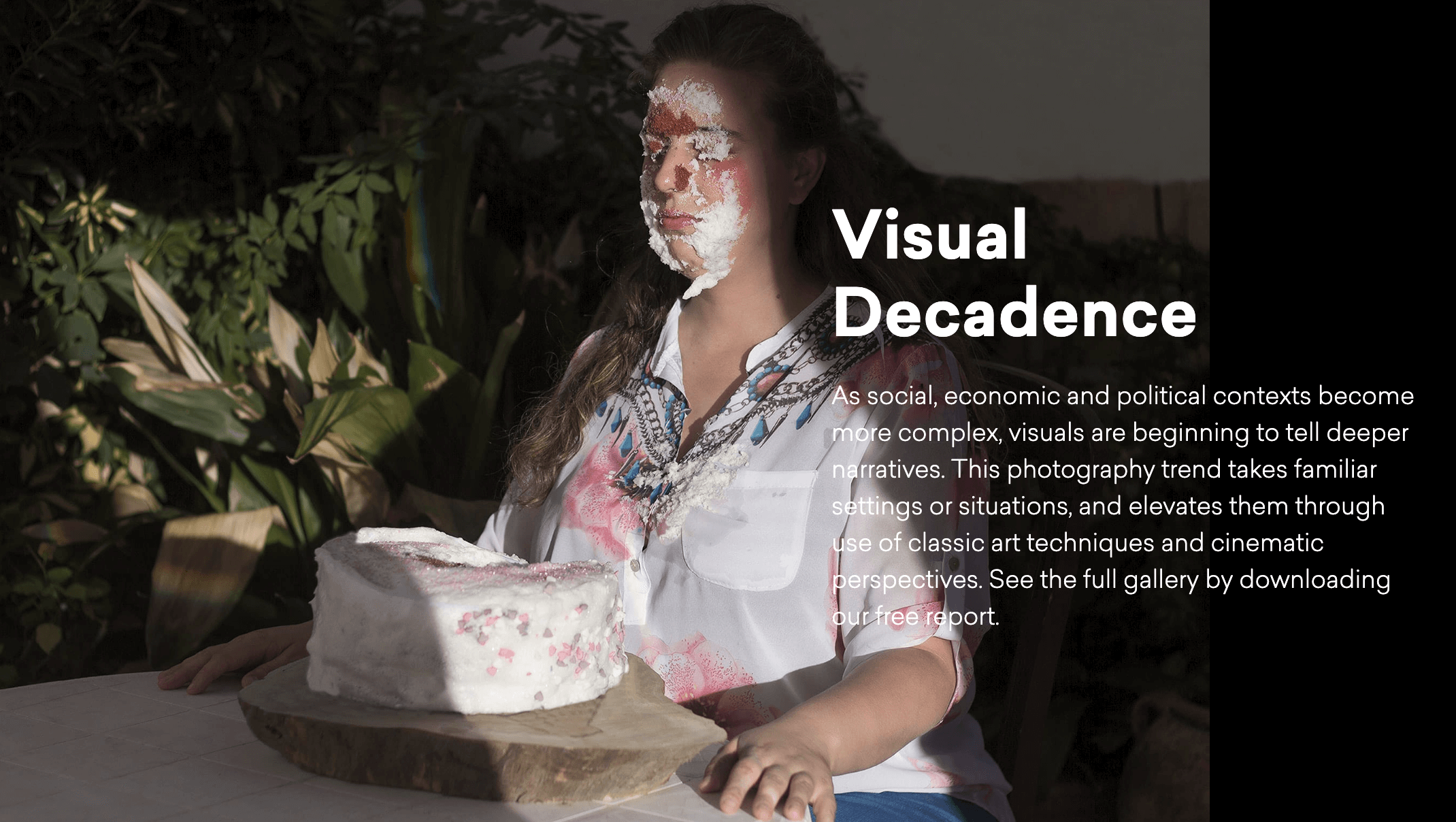 Portrait of a woman sitting at a table with cake on her face and a cake on the table in front of her stock photograph by Jumo Avilés EyeEm