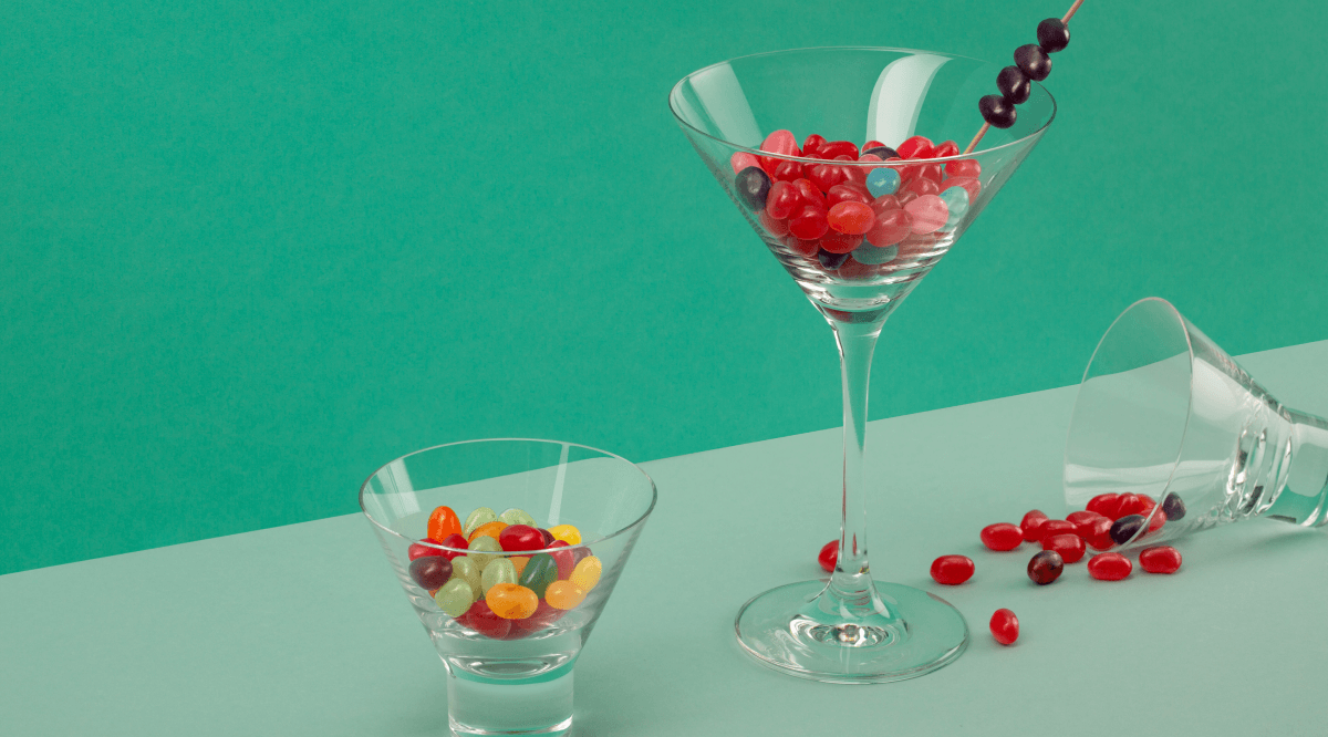 A martini glass full of jelly beans