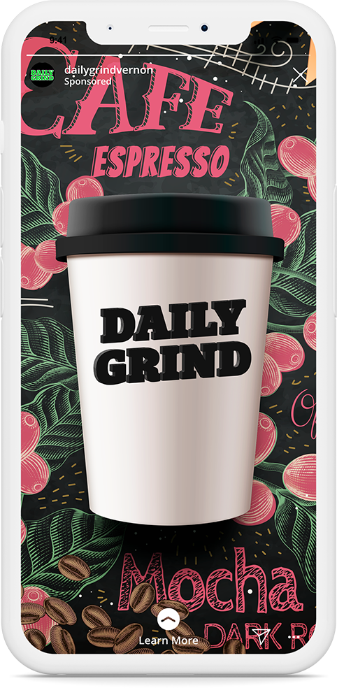 Projects sample of Instagram ad for daily grind.