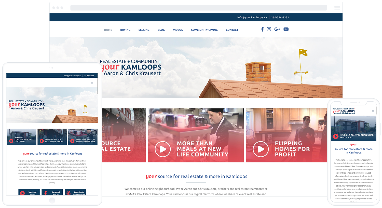 Sample of Your Kamloops Real Estate's website on desktop, tablet, and mobile.