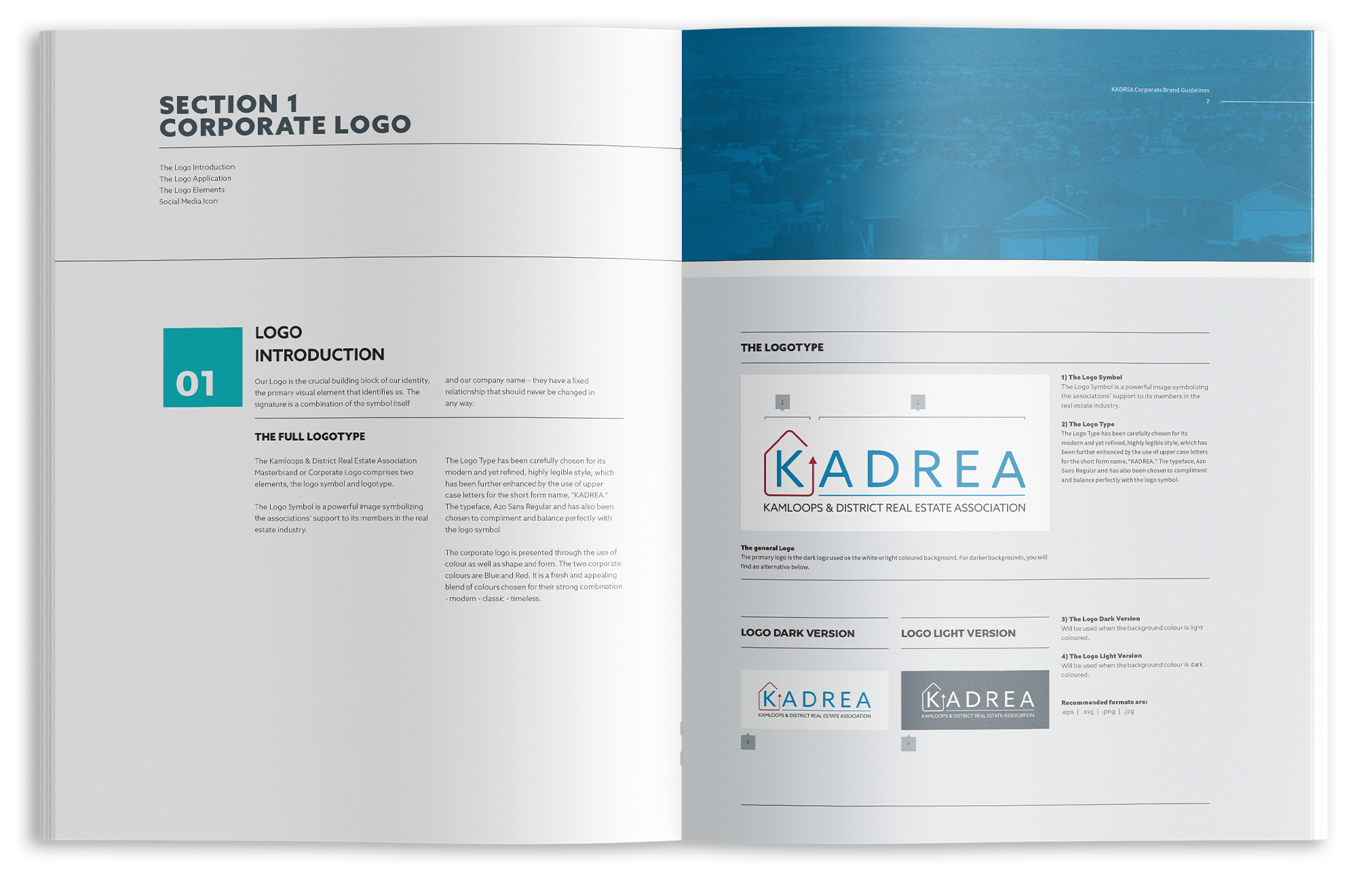 Inside spread of KADREA's brand guidelines.