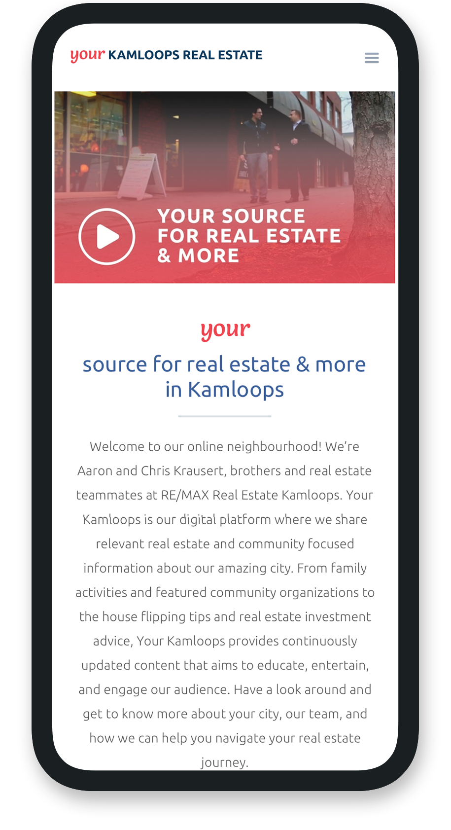 Mobile view of home page for Your Kamloops.