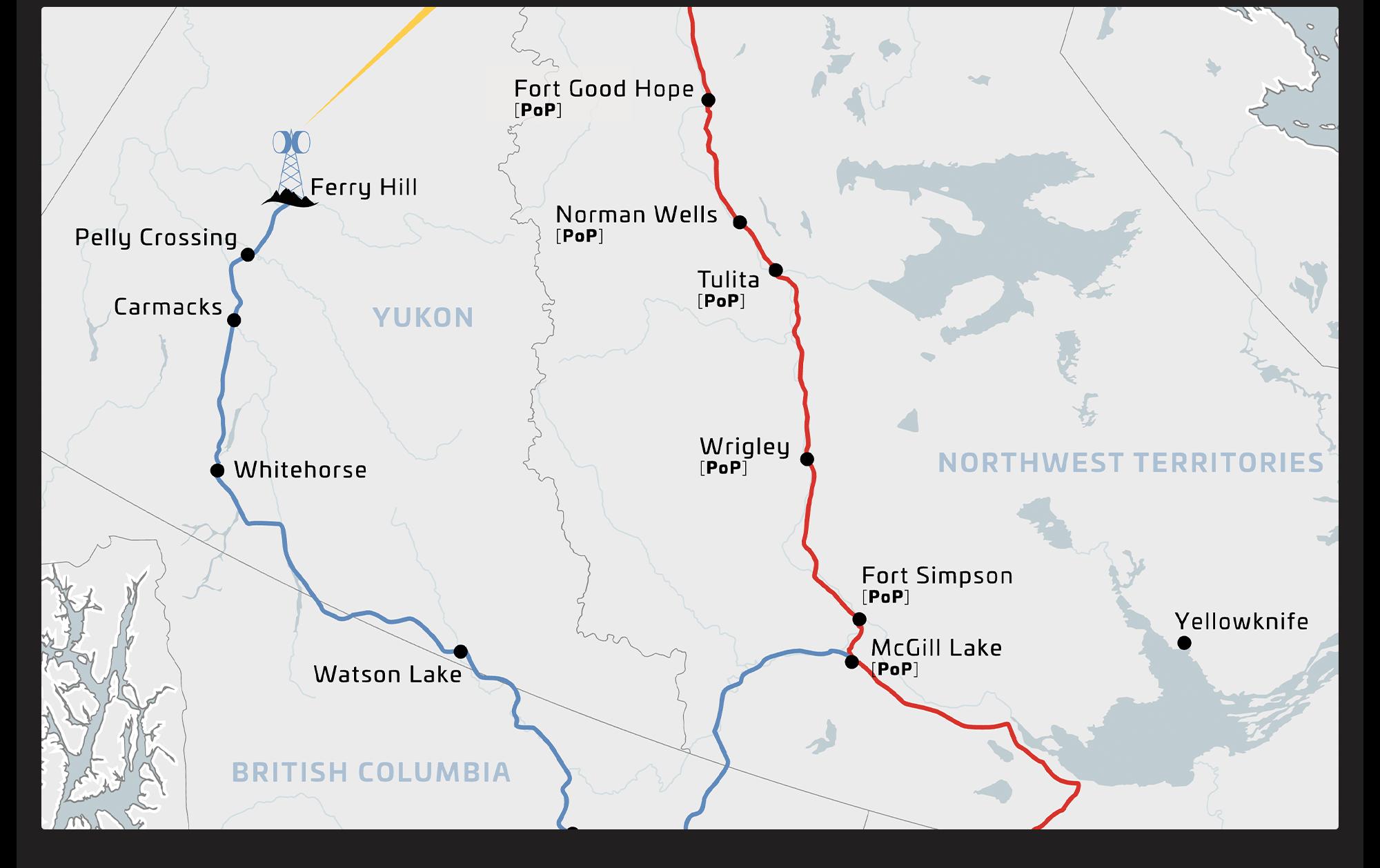 Desktop version of area map for Mackenzie Valley Fibre Link.