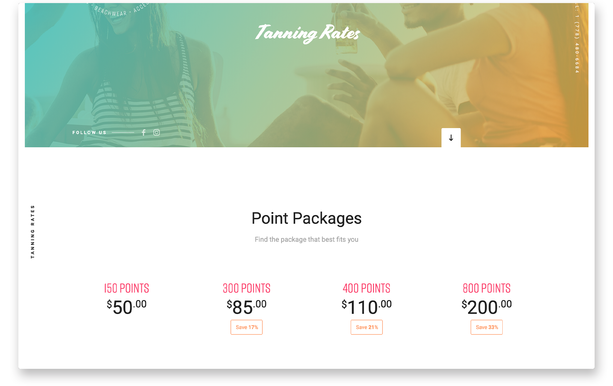 Desktop view of pricing page for Beyond the Beach.