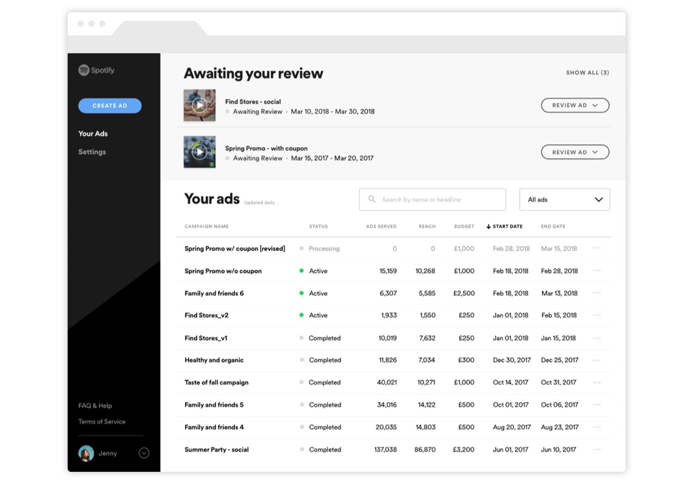 Screenshot of the Spotify Ad studio.