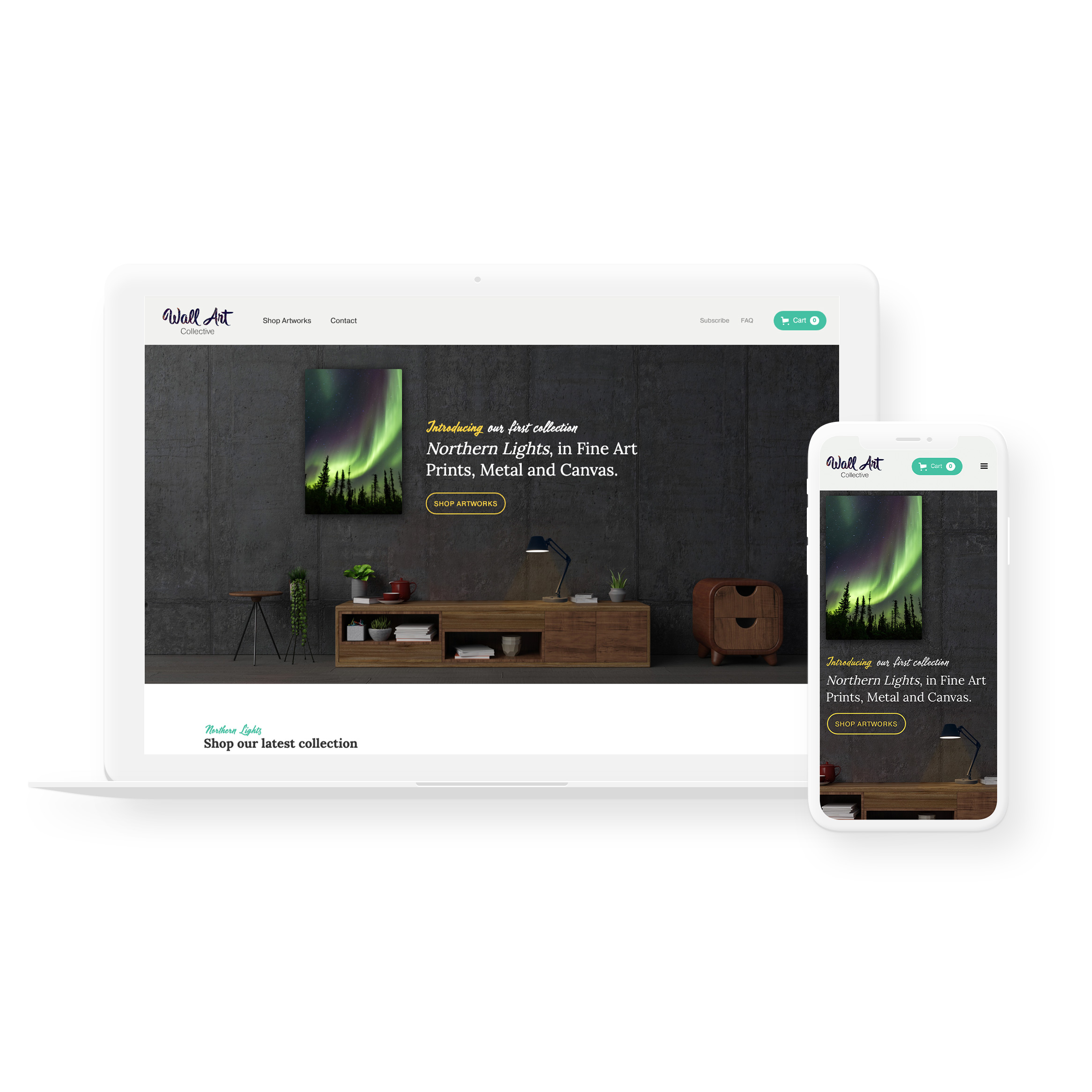 Sample image of website design showing desktop and mobile versions for Wall Art Collective