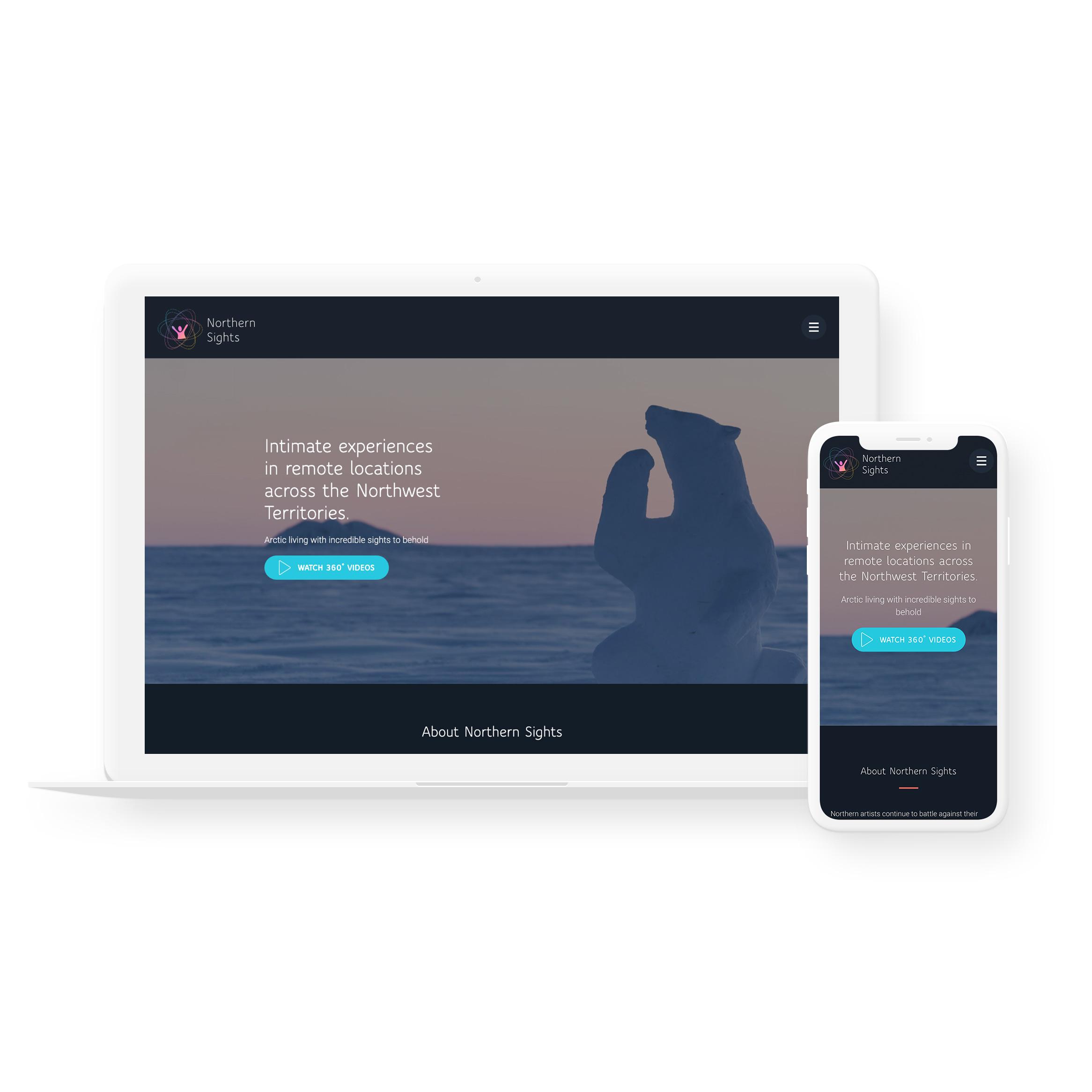 Sample image of website design showing desktop and mobile versions for Northern Sights