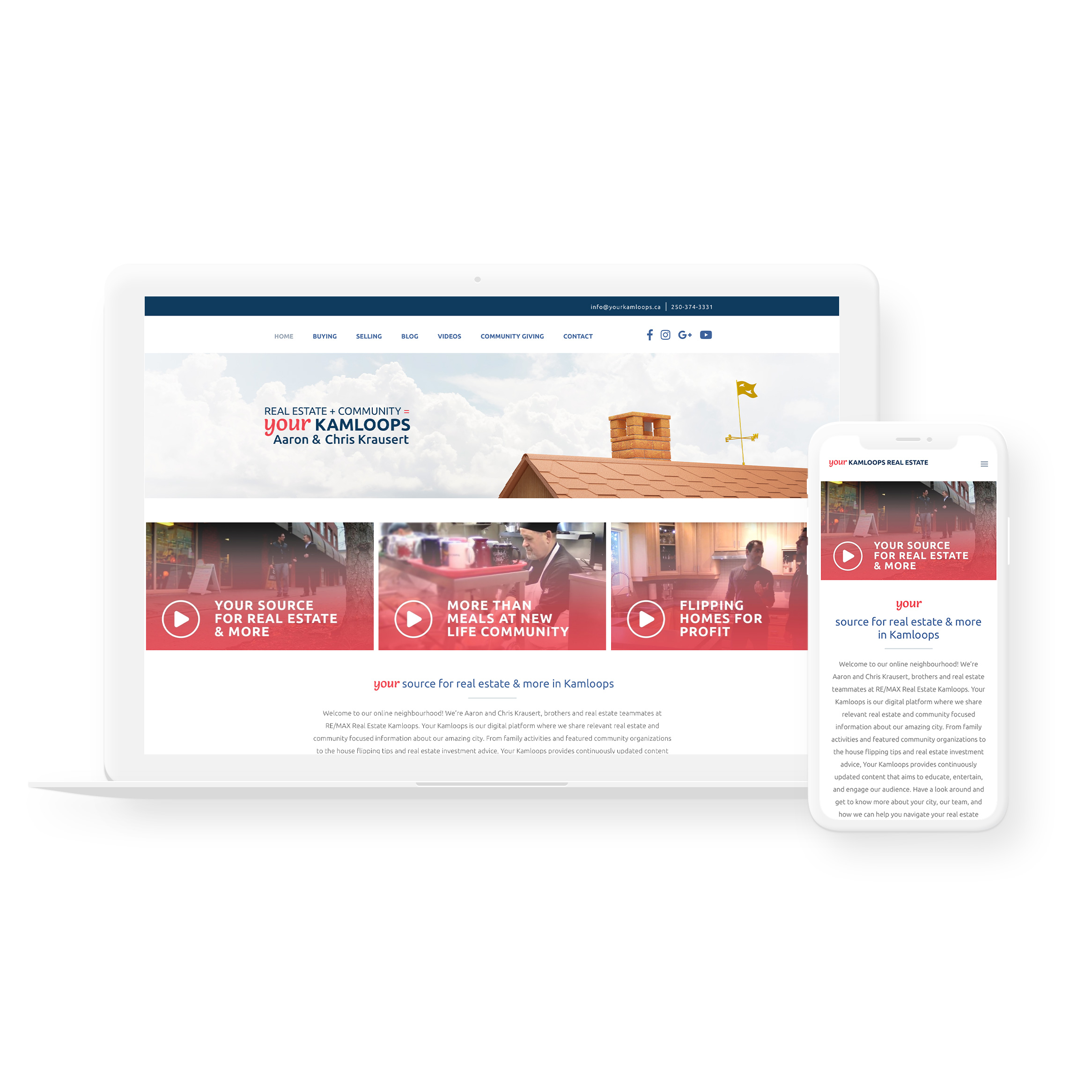 Sample image of website design showing desktop and mobile versions for Your Kamloops