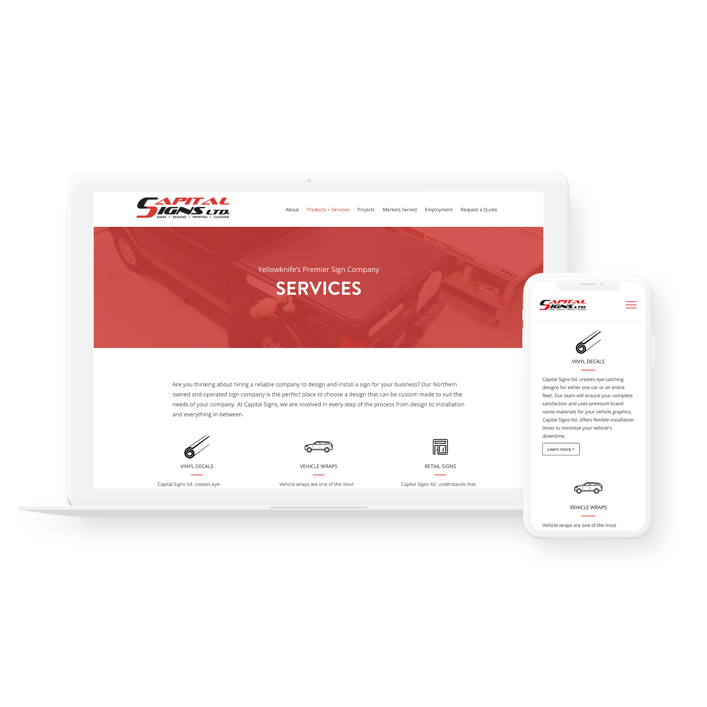 Sample image of website design showing desktop and mobile versions for Capital Signs