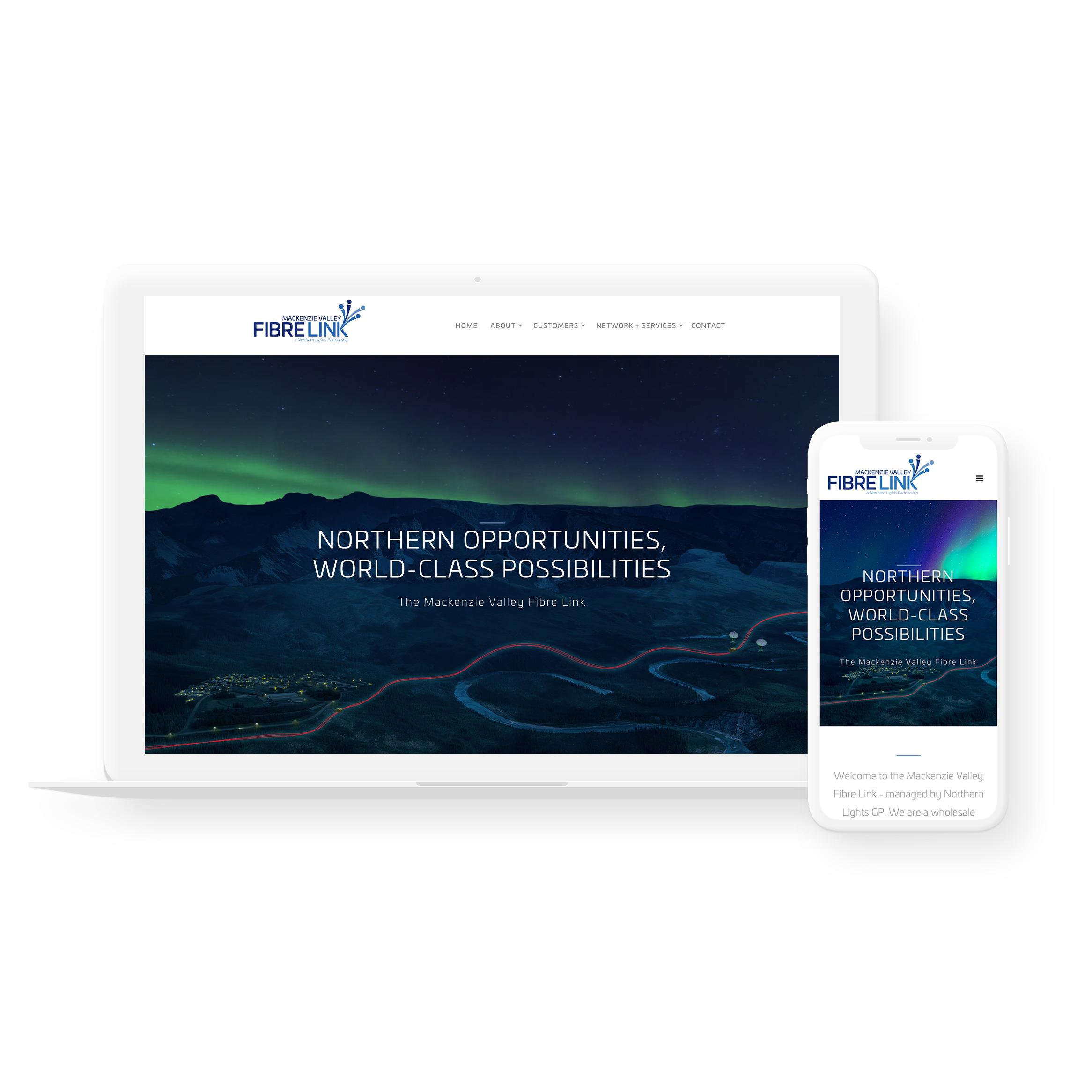 Sample image of website design showing desktop and mobile versions for Mackenzie Valley Fibre Link