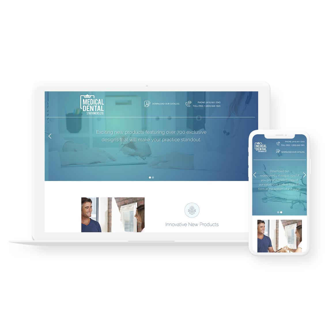 Sample image of website design showing desktop and mobile versions for Medical Dental Stationers