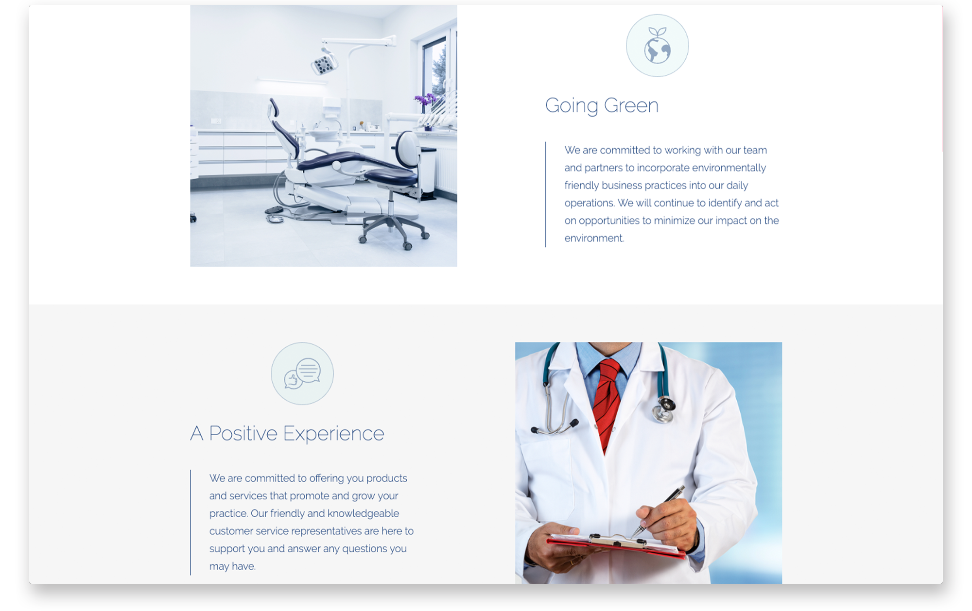 Desktop view services for Medical Dental Stationers.
