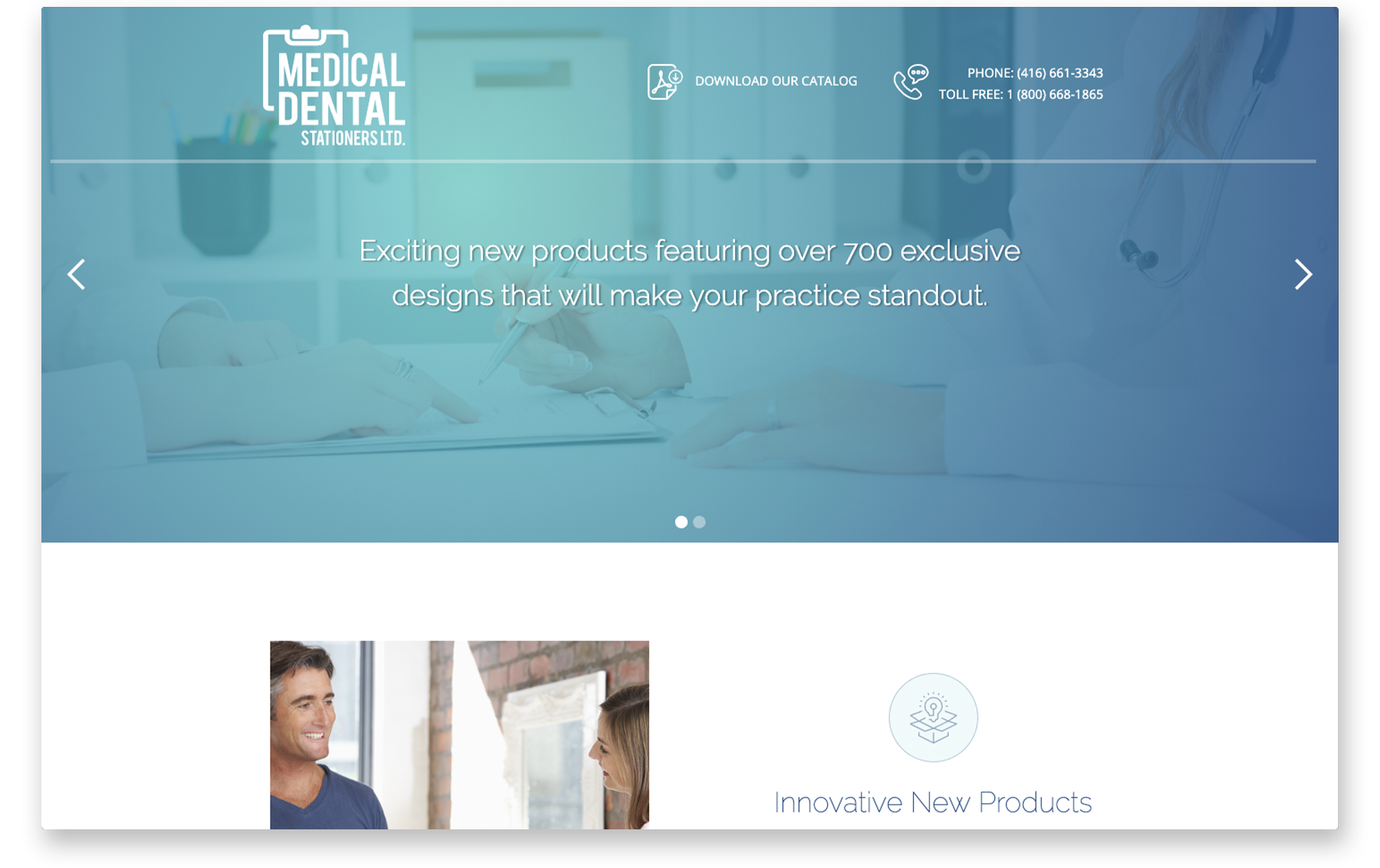 Desktop view of home hero banner for Medical Dental Stationers.