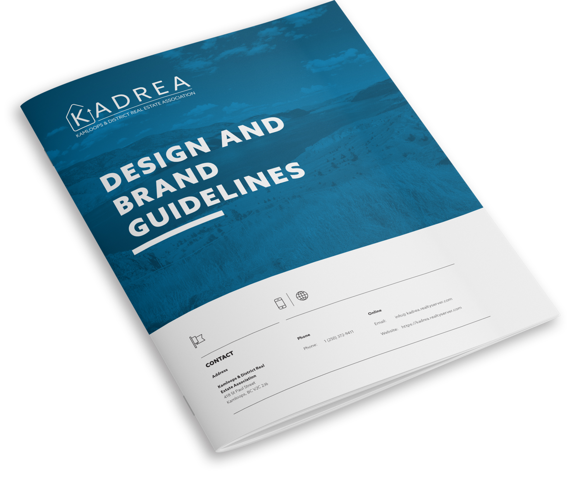 Front cover of KADREA's brand guidelines.