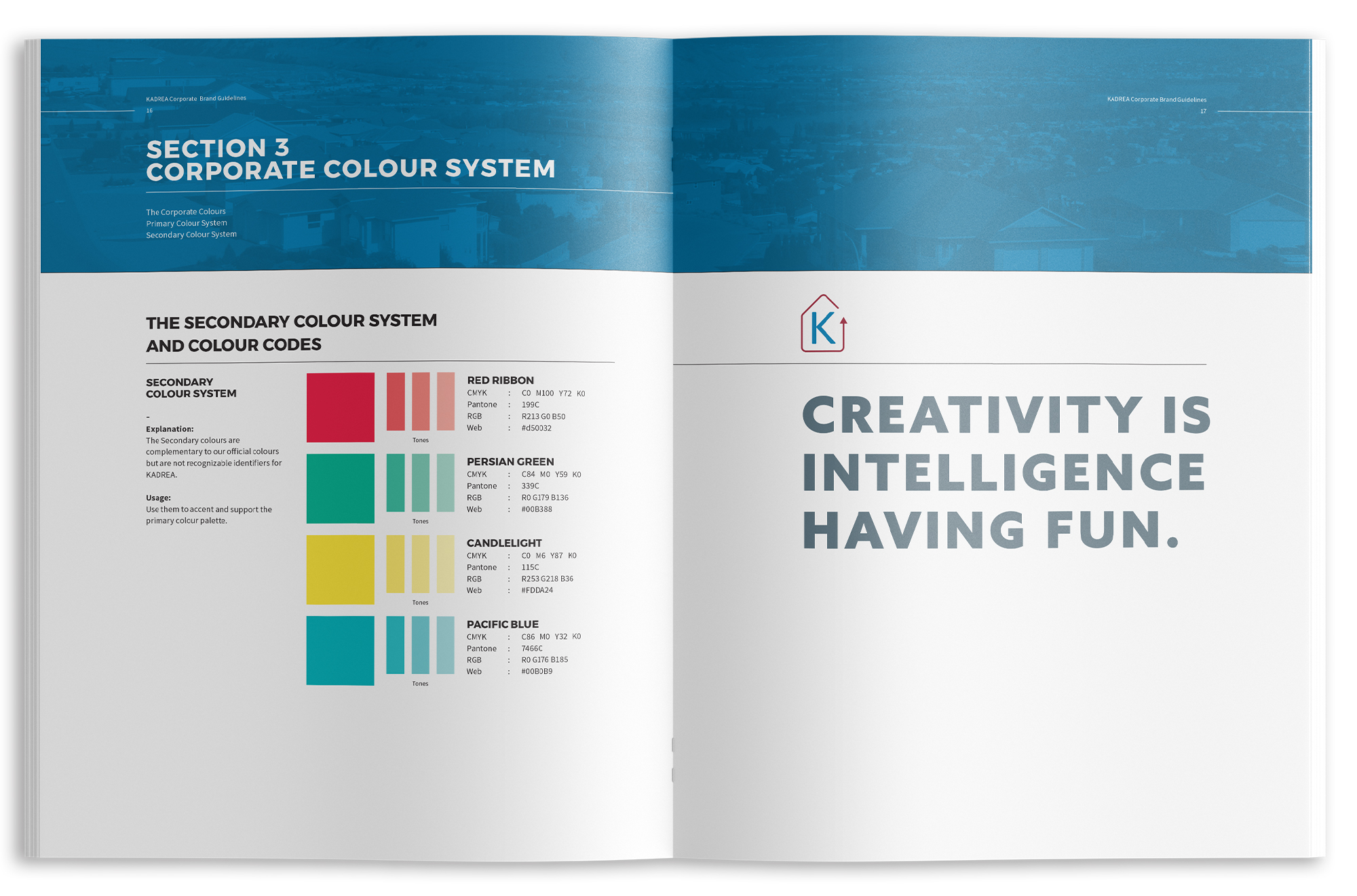 Inside spread of KADREA's brand guidelines showing colour pallett.