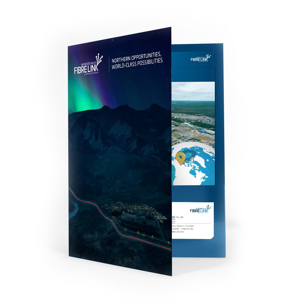 Sample image of pocket folder design for Mackenzie Valley Fibre Link.