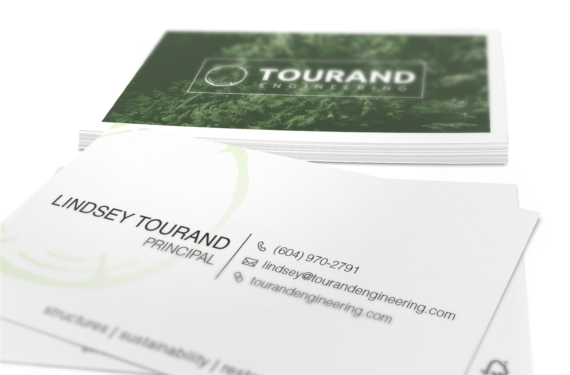 Sample image of business card design for Tourand Engineering.