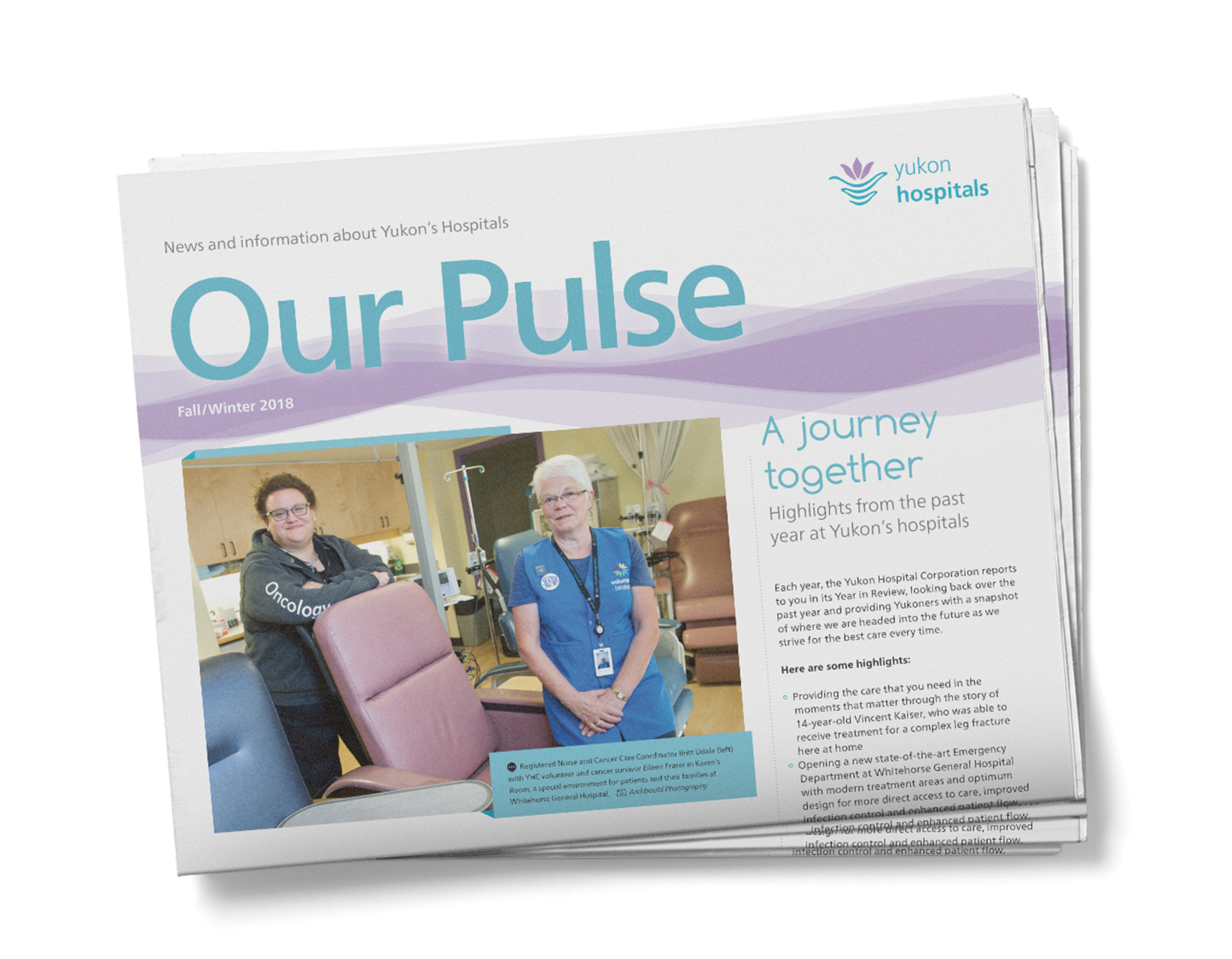 Print sample of newsletter design showing folded cover for the Yukon Hospitals.