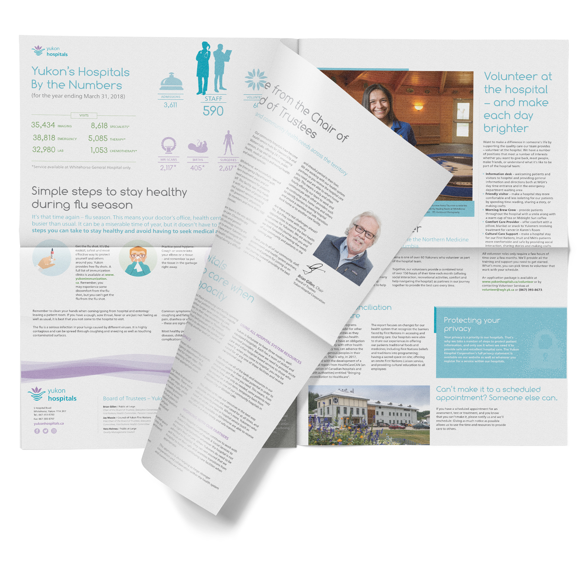 Print sample of newsletter design showing am inside spread for the Yukon Hospitals.