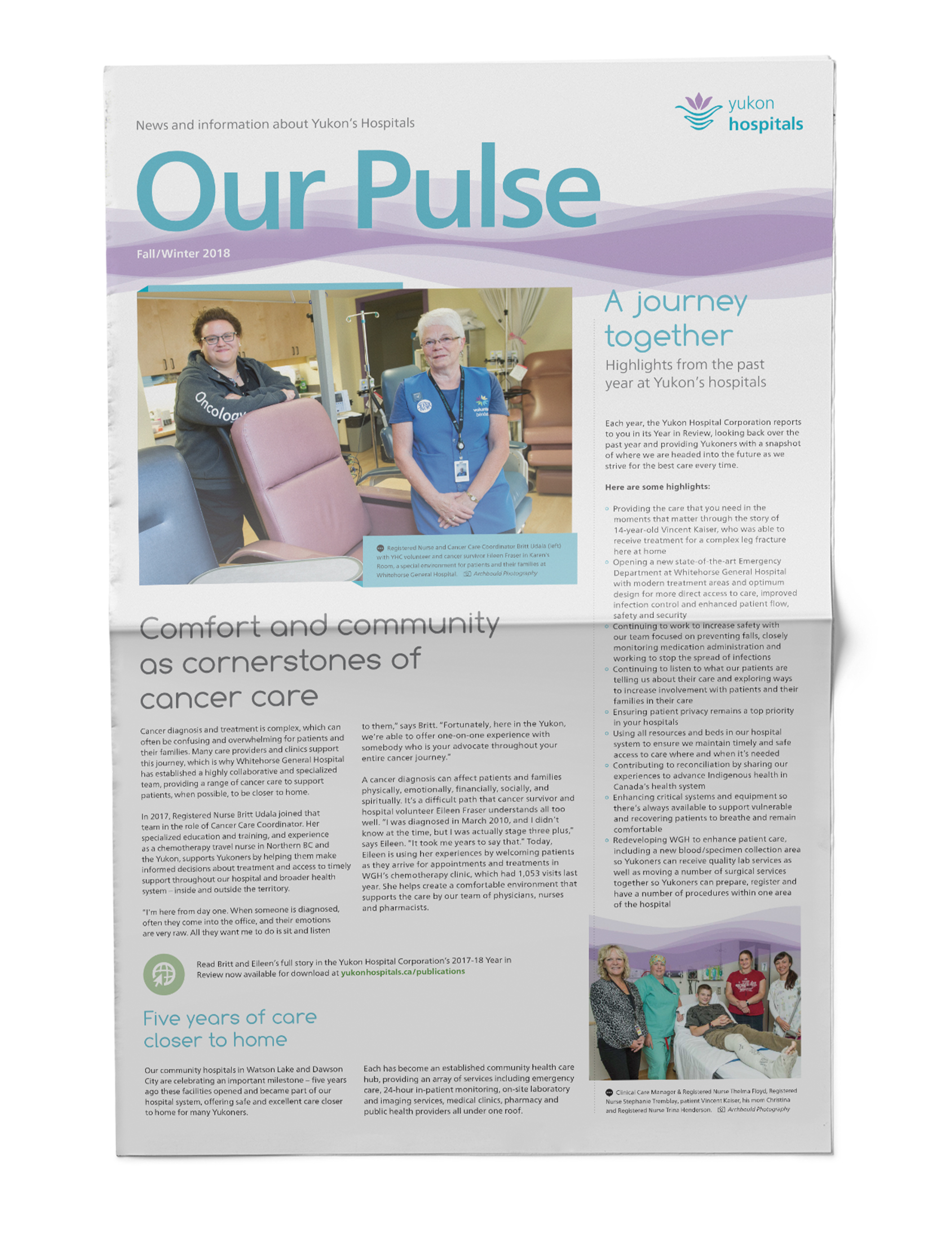 Print sample of newsletter design showing open cover for the Yukon Hospitals.