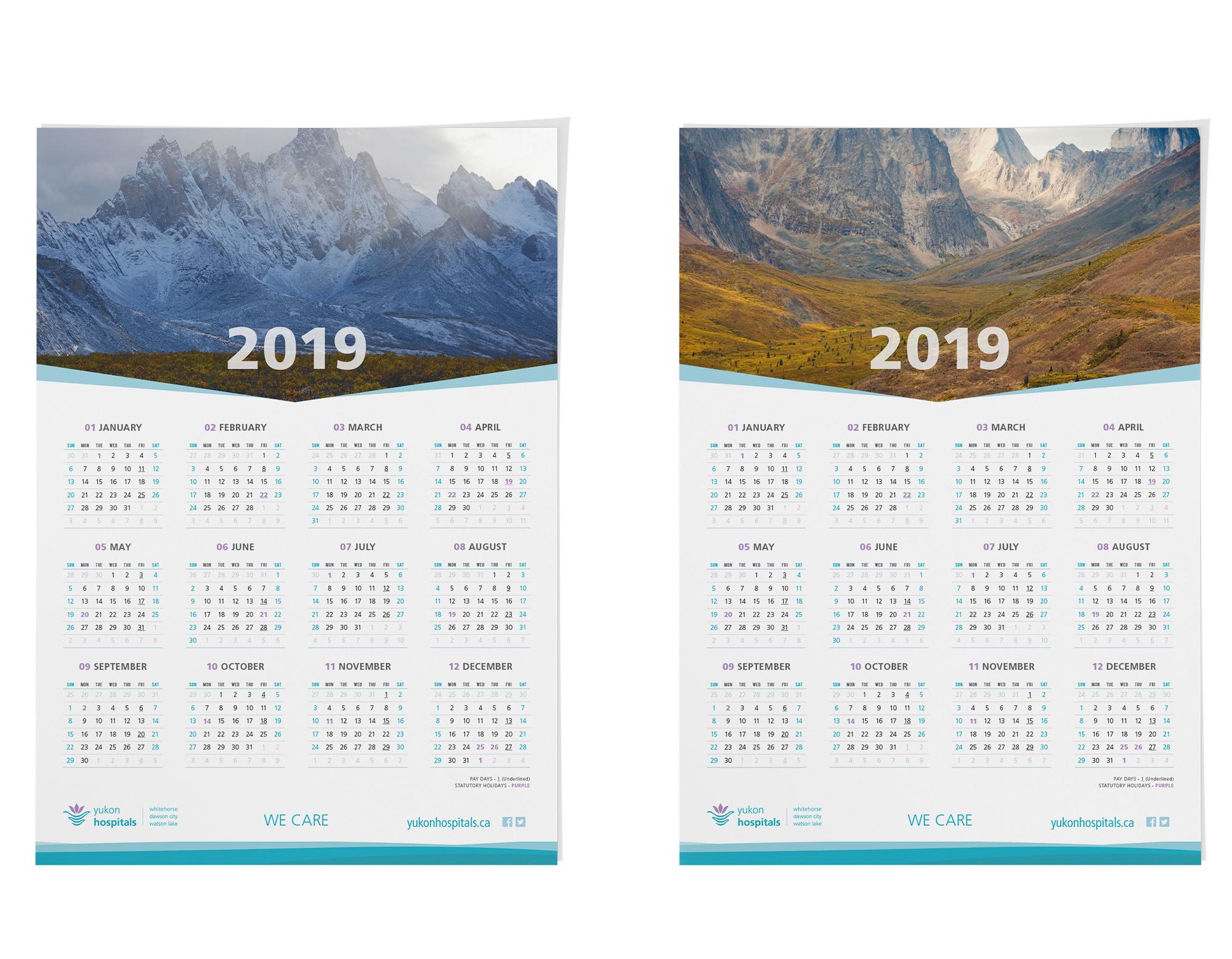 Sample image of 2019 wall calendar for the Yukon Hospital Corporation.