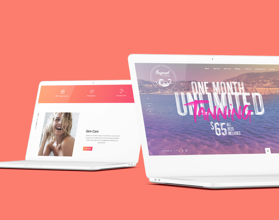 Sample image of website design showing desktop and mobile versions for Beyond the Beach
