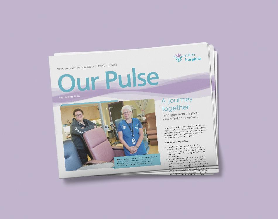 Sample image of newsletter design for Yukon Hospital Corporation.