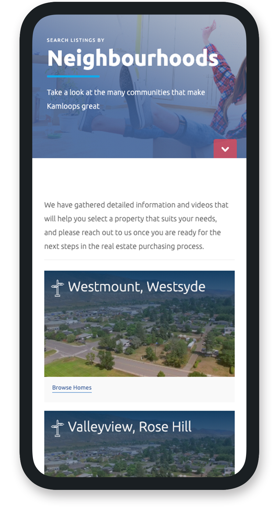 Mobile view of search by neighbourhoods for IDX.