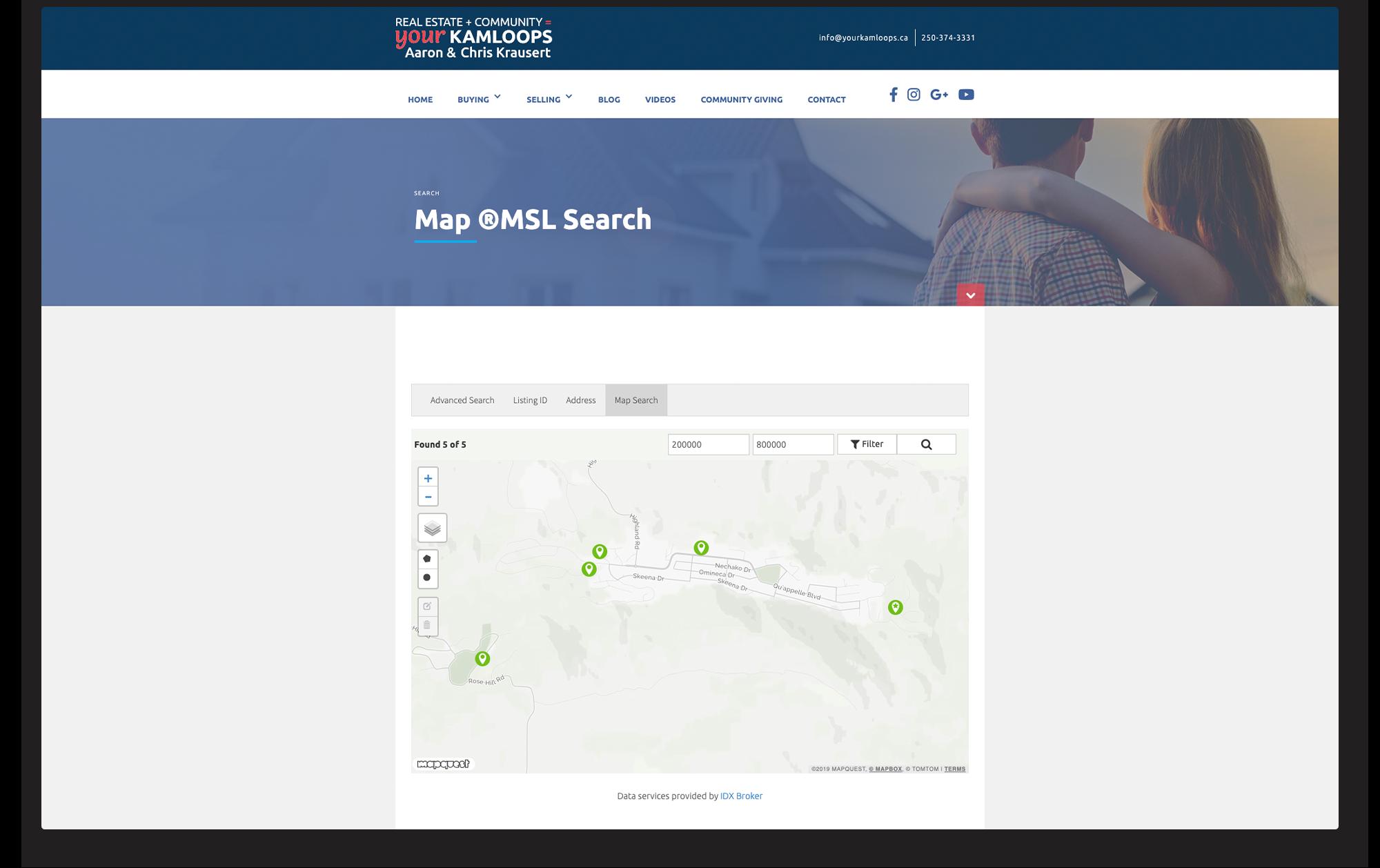 Desktop view of IDX search by map.