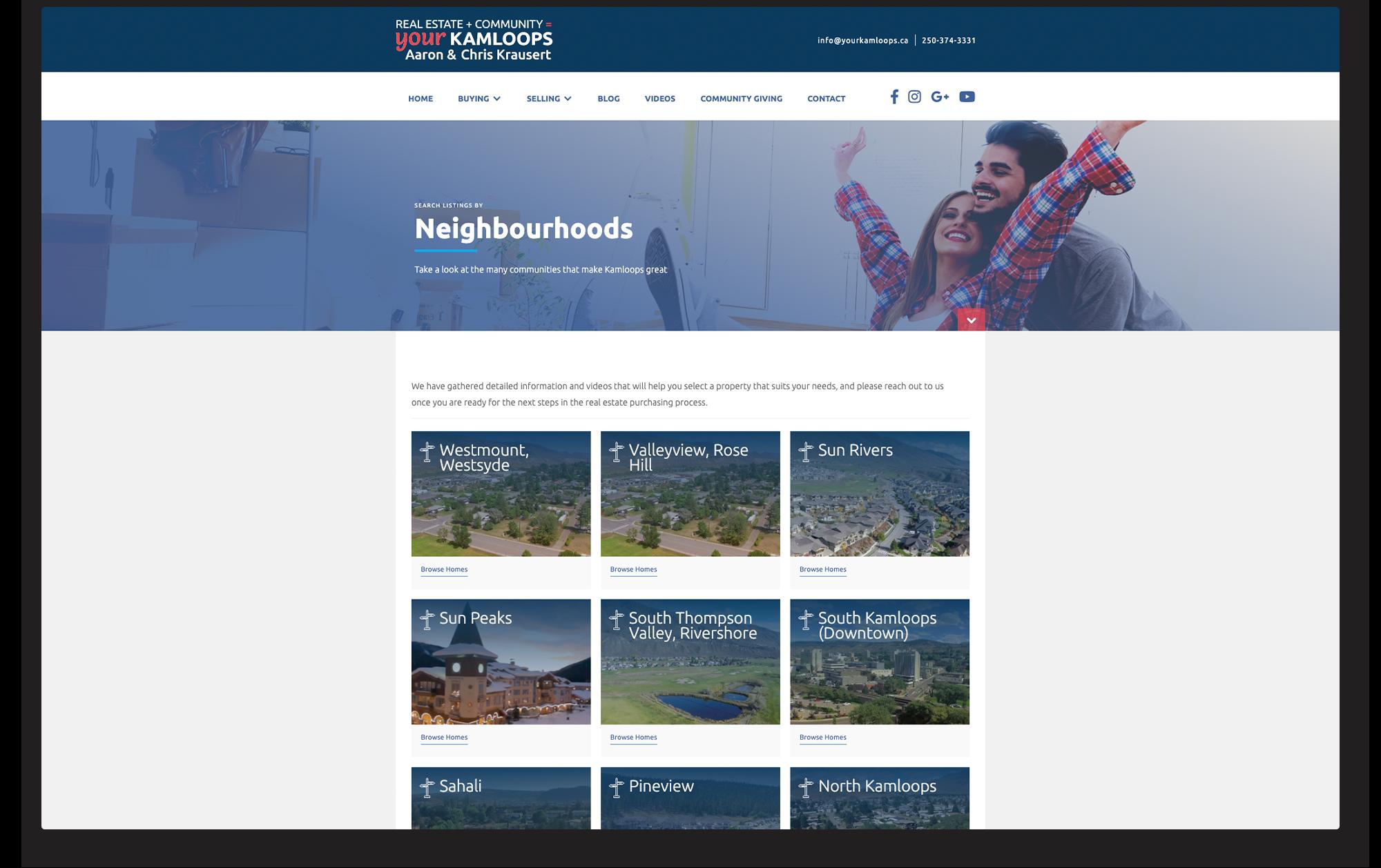 Desktop view of search by neighbourhoods for IDX.
