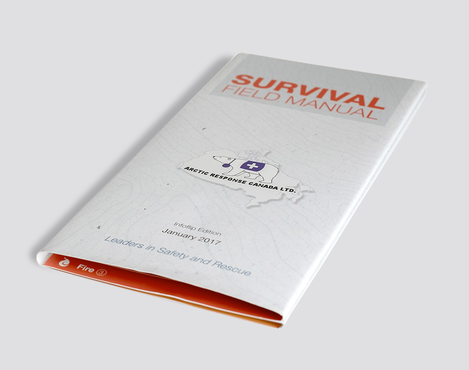 Sample image of InfoFlip book designed for Arctic Response.