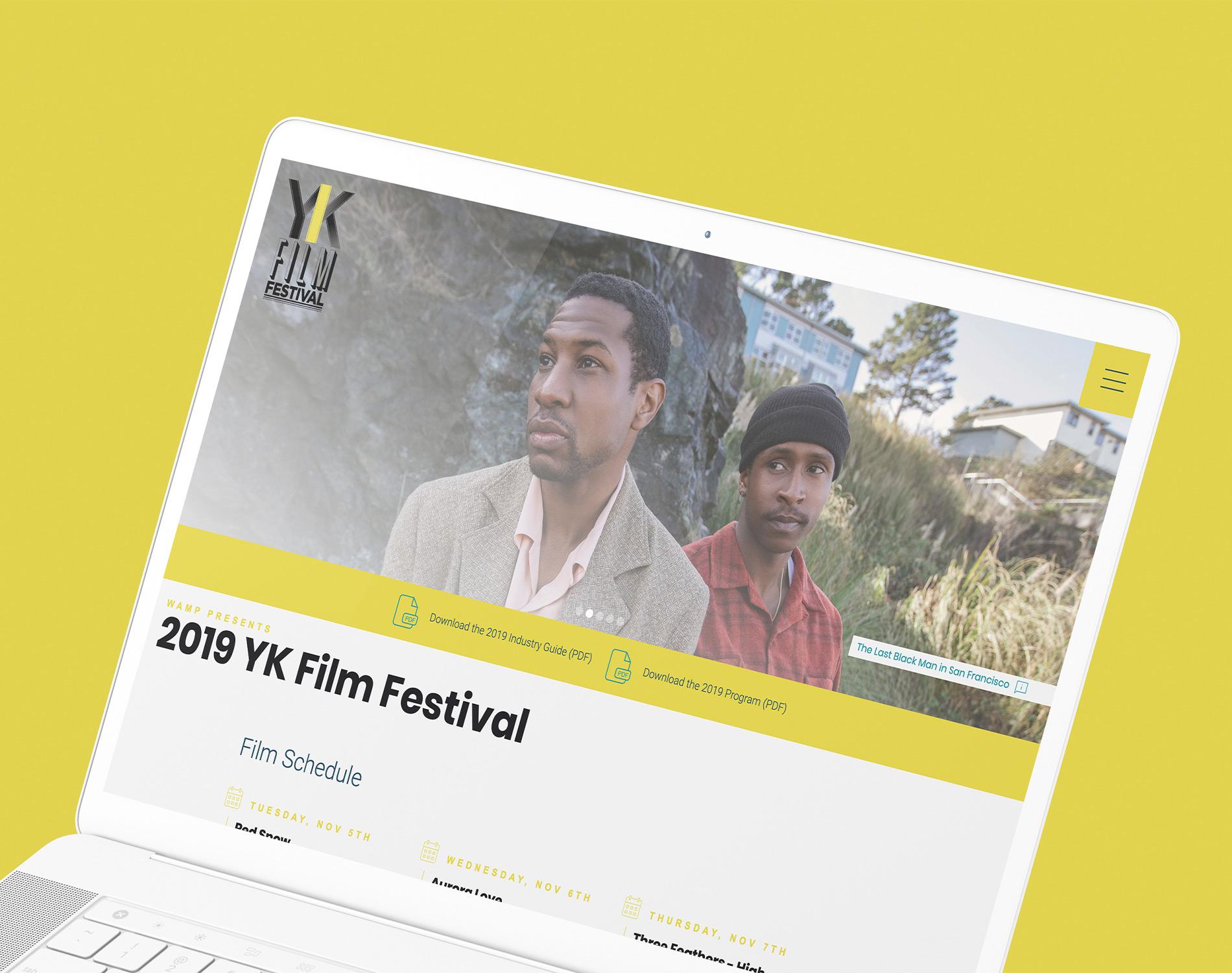 Sample image of website design showing desktop and mobile versions for YK Film Festival