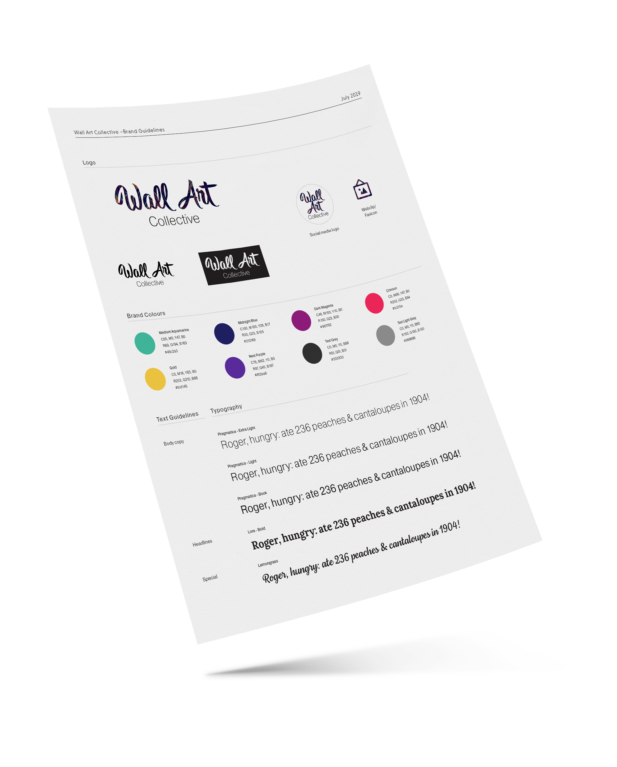 Example image of brand guidelines for Wall Art Collective.