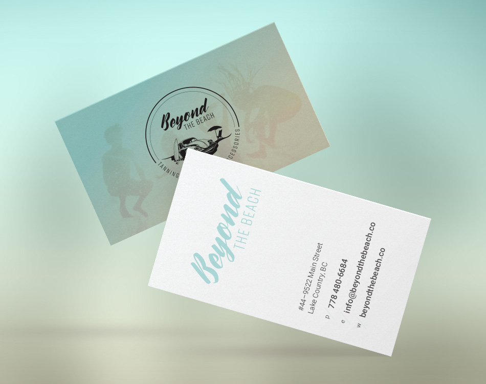 Sample image of business card design for Beyond The Beach.