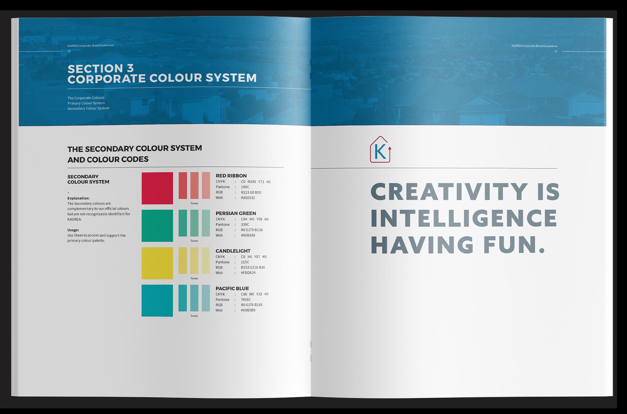 Inside spread of KADREA's brand guidelines.