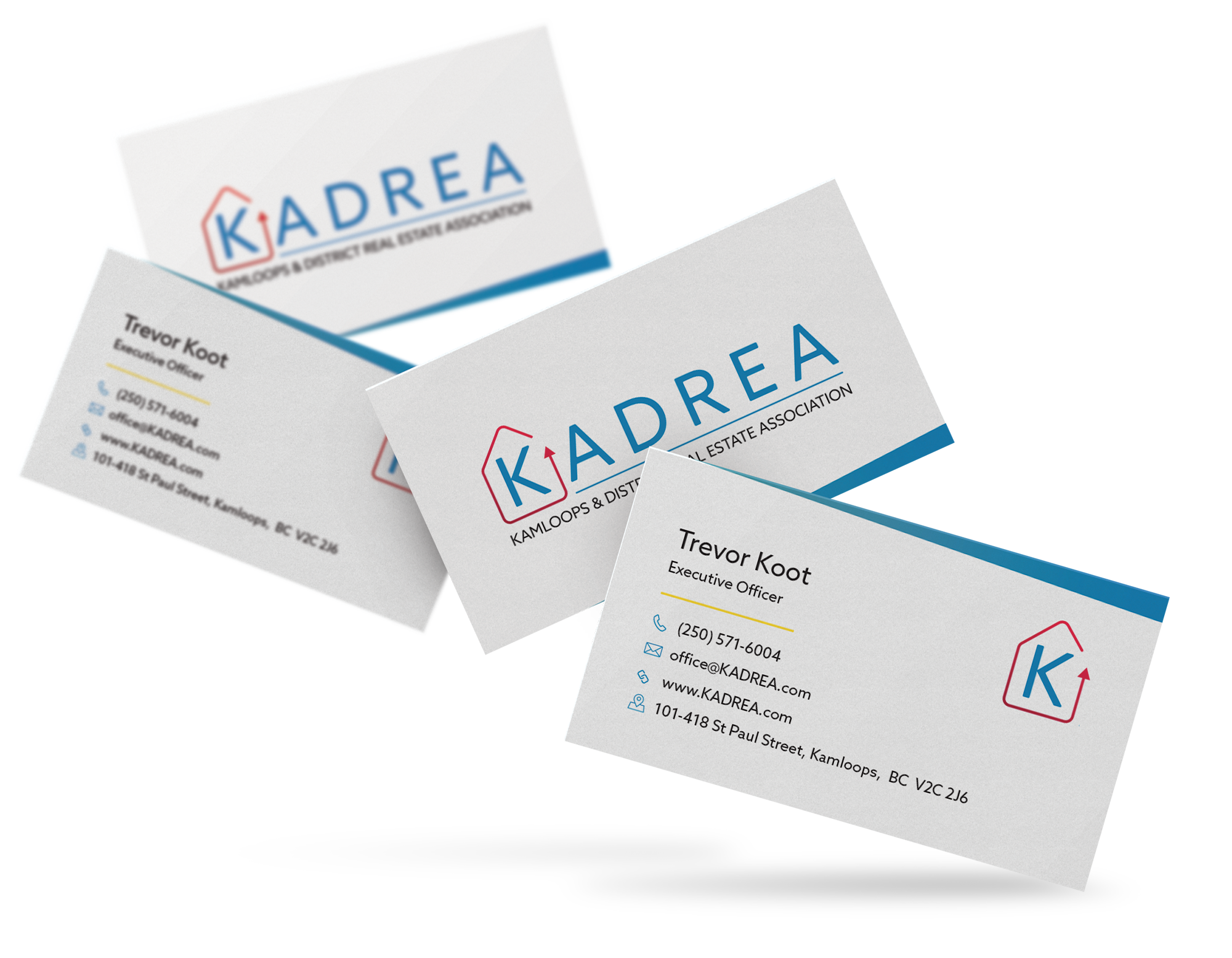 Example of new business card design for the Kamloops and District Real Estate Association.