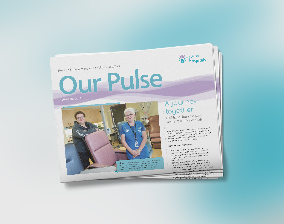 Sample image of newsletter design for Yukon Hospital Corporation.